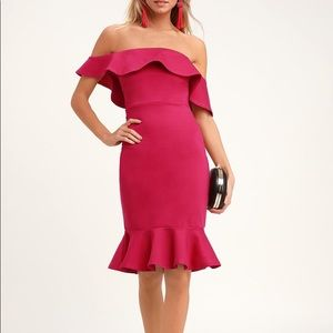 Lulus NWT Small Hot Pink off the shoulder dress
